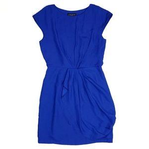 Julie Dillon Ruffled Faux Wrap Royal Blue Dress
